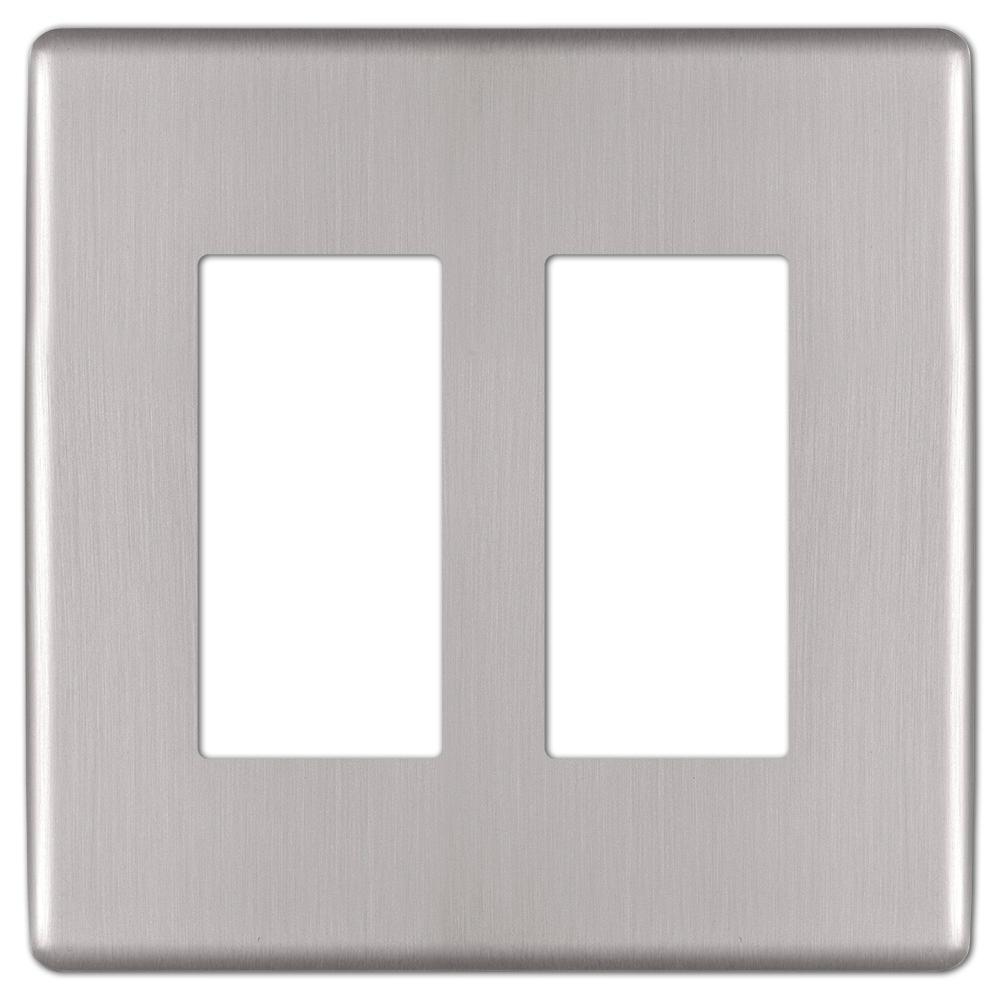 Kentley 2 Gang Rocker Steel Wall Plate - Brushed Nickel