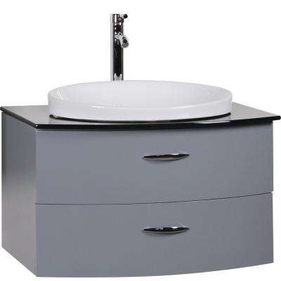 Adora 32 in. W x 21.5 in. D Floating Vanity in Gray with Tempered Glass Vanity Top in Black with White Basin