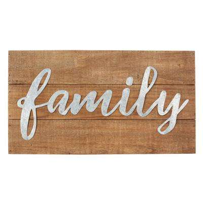 Indoor Planked Wood and Metal Script Family Plaque