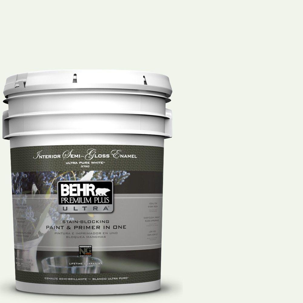BEHR Premium Plus Ultra 5-gal. #GR-W10 Calcium Semi-Gloss Enamel Interior Paint