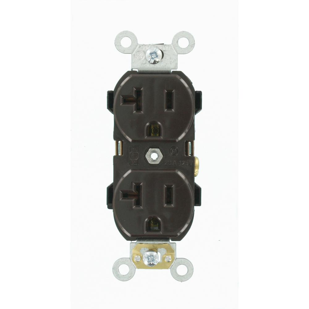 20 Amp Industrial Grade Heavy Duty Self Grounding Duplex Outlet, Brown