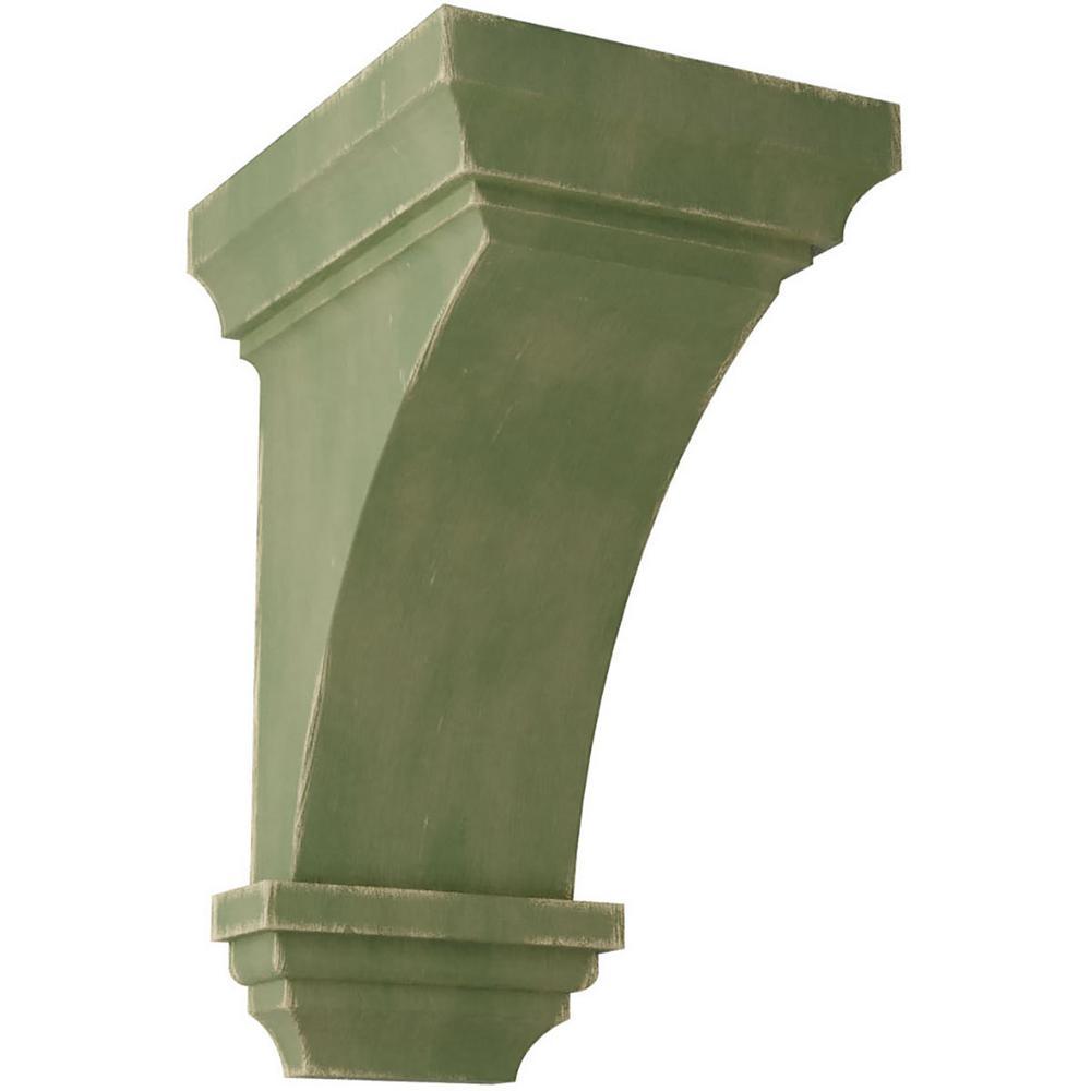 6 in. x 12 in. x 6-3/4 in. Restoration Green Large Jefferson Wood Vintage Decor Corbel