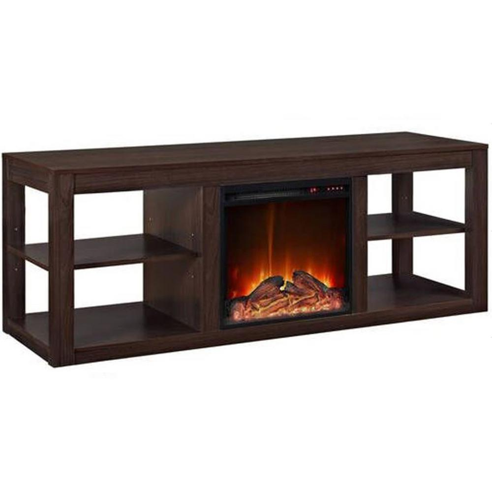 Y Decor 19 In Wide Electric Fireplace Insert And Lightbrown Cabinet