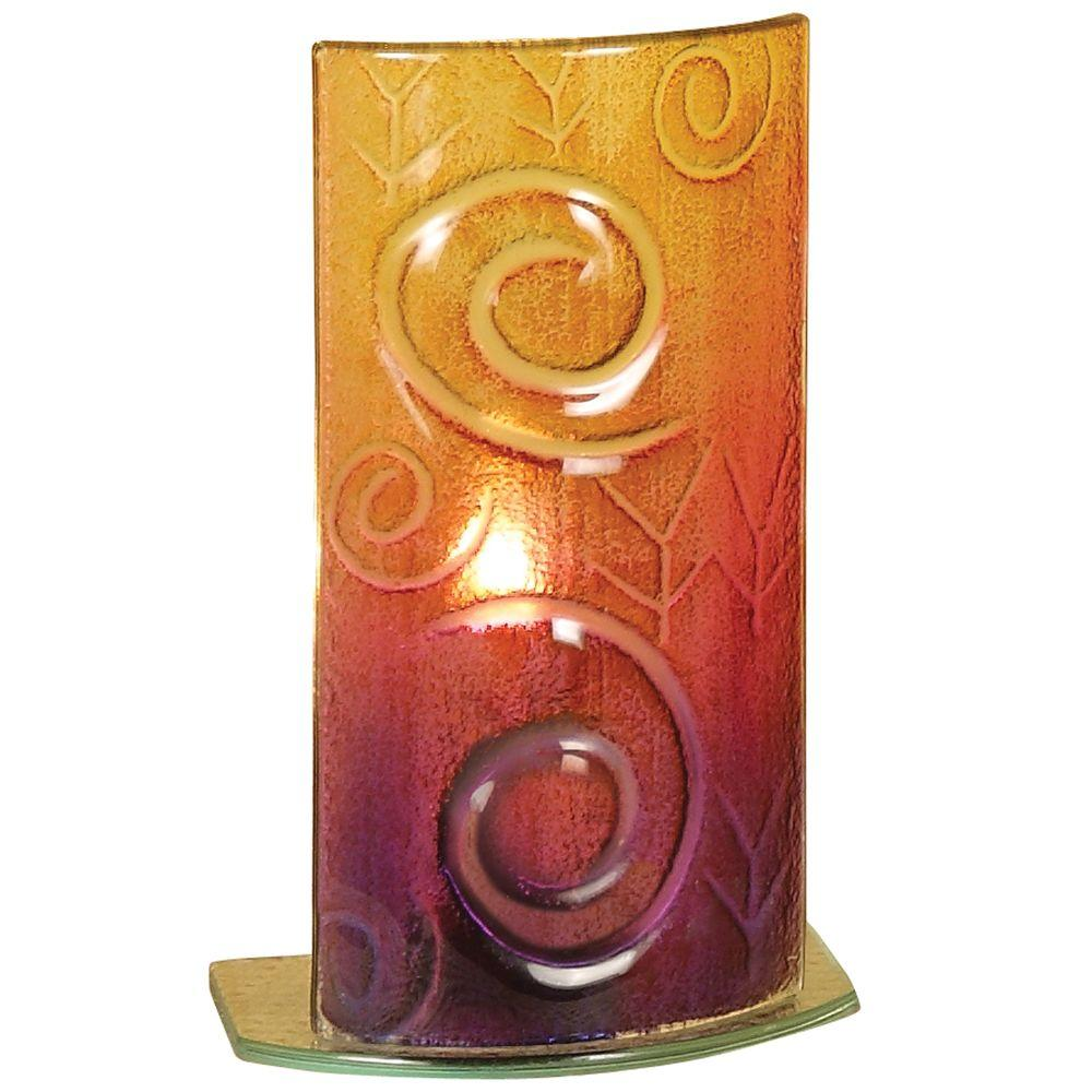 Mario Industries 8.5 in. Amber and Swirl Art Glass Accent Lamp-DISCONTINUED