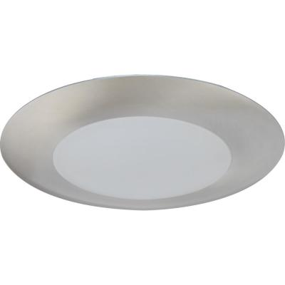 Mini 1-Light Brushed Nickel Aluminum LED Indoor/Outdoor Ceiling Surface Flush Mount/Wall Sconce with Lens, Round Trim