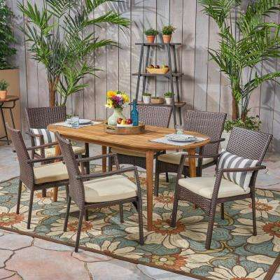 Stamford Brown 7-Piece Wood and Wicker Outdoor Dining Set with Cream Cushions