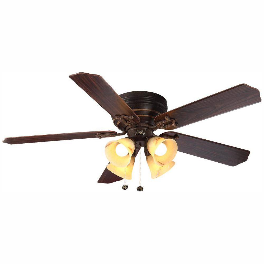 Hampton Bay Carriage House 52 in. LED Indoor Iron Ceiling Fan with on