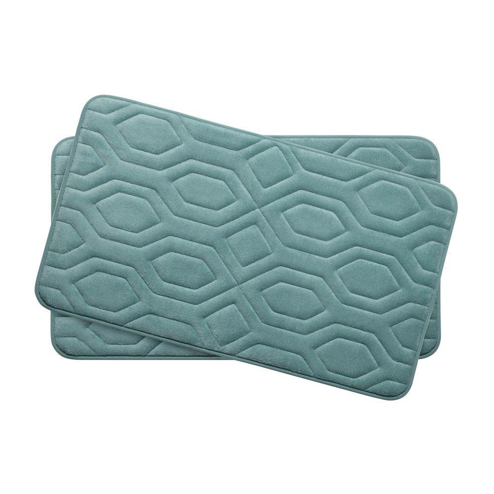 Turtle Shell Marine Blue 17 in. x 24 in. Memory Foam 2-Piece Bath Mat Set