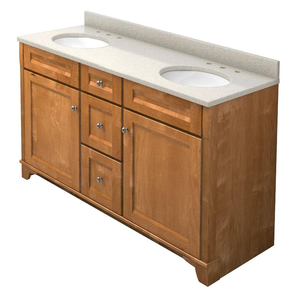 KraftMaid 60 in. Vanity in Praline with Natural Quartz Vanity Top in Natural Almond and White Double Sink-DISCONTINUED