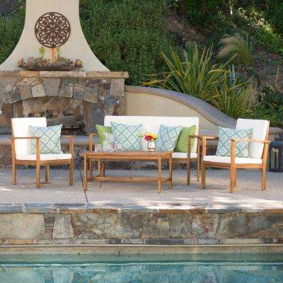 Luciano Brown 4-Piece Wood Patio Conversation Set with Beige Cushions