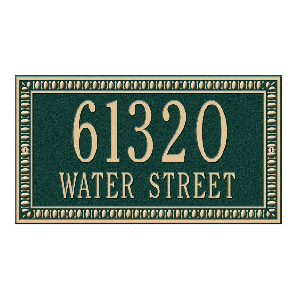 Egg and Dart Rectangular Green/Gold Standard Wall Two Line Address Plaque