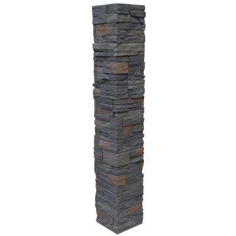 Country Ledgestone 8 in. x 8 in. x 47 in. Appalachian Gray Polyurethane Faux Stone Split Post Cover (2-Piece)
