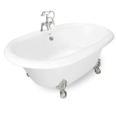 72 in. AcraStone Acrylic Double Clawfoot Non-Whirlpool Bathtub in White with Large Ball Claw Feet Faucet in Satin Nickel
