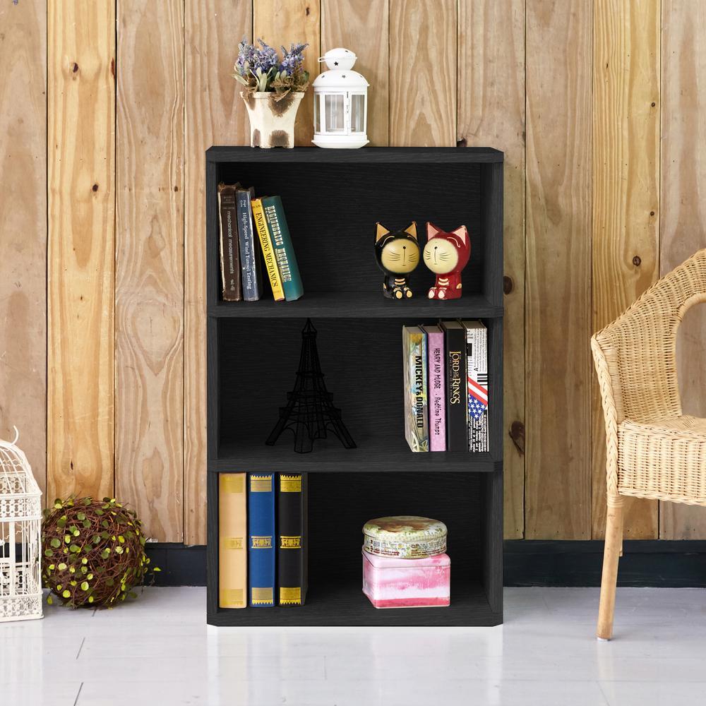 Trinity 3-Shelf Black Eco zBoard Tool-Free Assembly Bookcase Storage Organizer
