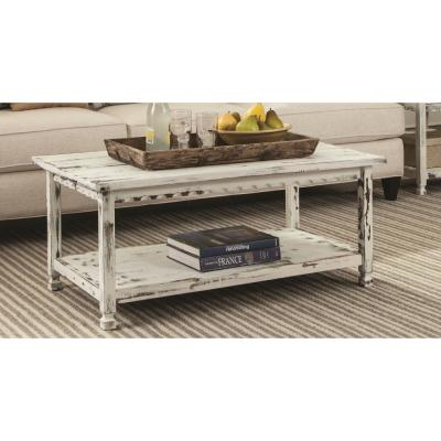 Country Cottage 42 in. White Large Rectangle Wood Coffee Table with Shelf