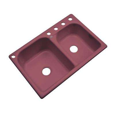 Cambridge Drop-In Acrylic 33 in. 5-Hole Double Bowl Kitchen Sink in Raspberry Puree