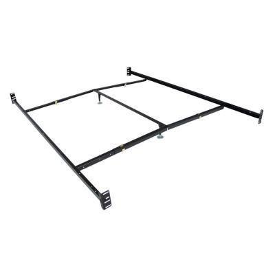 Black Adjustable Bedframe Headboard Footboard Bolt on Bed Rails