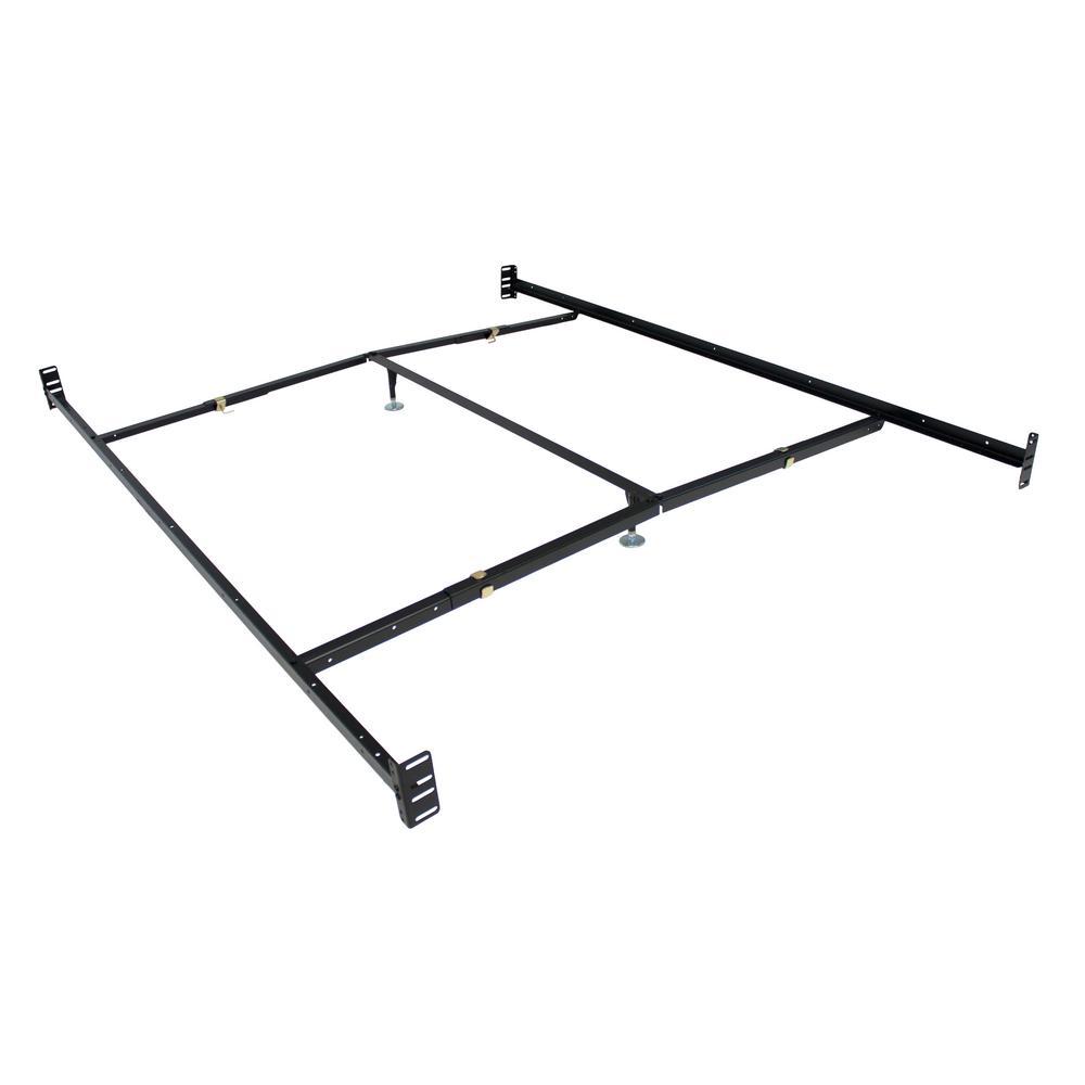 Black Adjustable Bedframe Headboard Footboard Bolt on Bed Rails