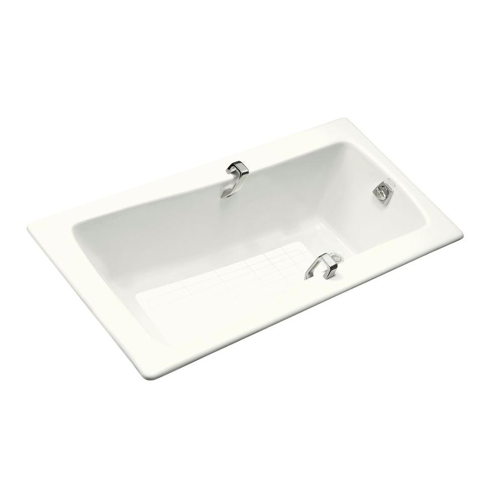 KOHLER Maestro 5.5 ft. Reversible Drain Cast Iron with Grip Rail ...
