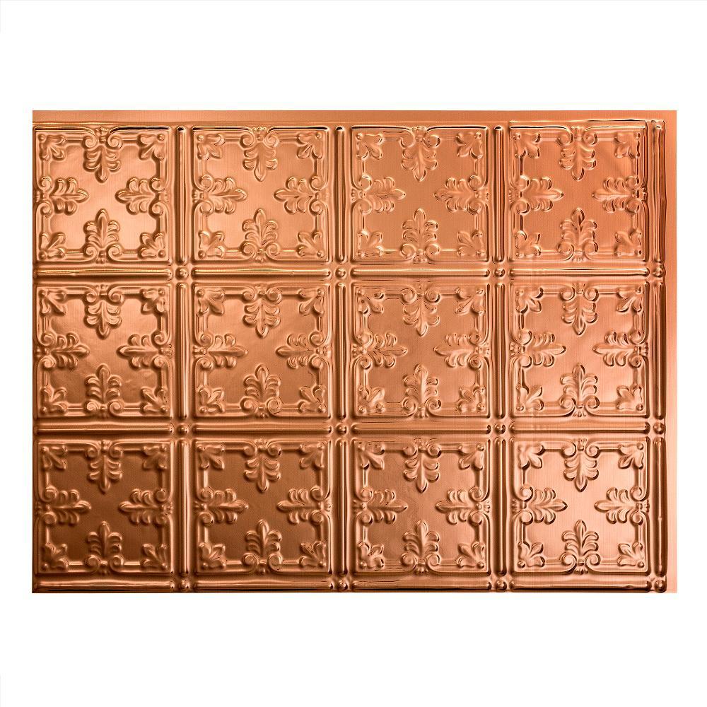 Traditional 10 18 in. x 24 in. Polished Copper Vinyl Decorative Wall Tile Backsplash 18 sq. ft. Kit