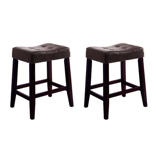Stylish Brown Wooden Saddle Chair Script (Set of 2)