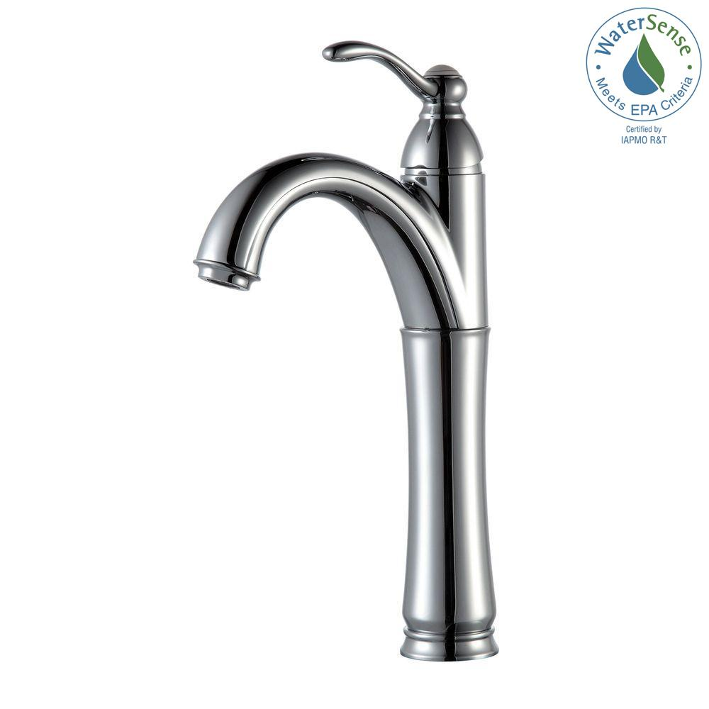 KRAUS Riviera Single Hole Single-Handle Vessel Bathroom Faucet in ...
