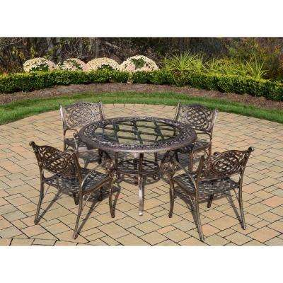 Mississippi 5-Piece Cast Aluminum Patio Dining Set with Round Table and 4 Arm Chairs