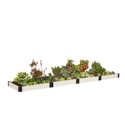 4 ft. x 16 ft. x 8 in. White Composite Raised Garden Bed Kit