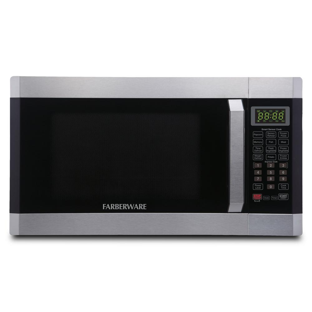 Stainless Steel 1100-Watt Microwave Oven with Smart Sensor Cooking Technology and Blue LED Lighting Ft Farberware Professional FMO16AHTPLB 1.6 Cu