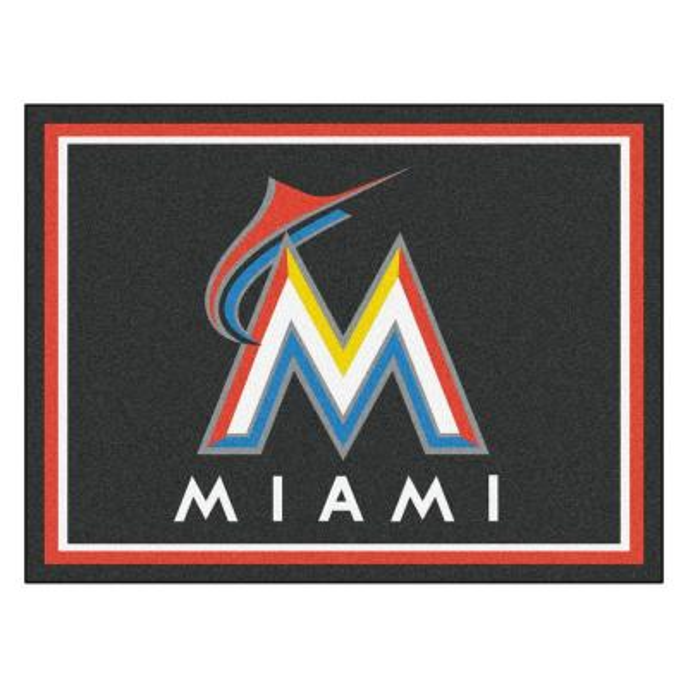 MLB Miami Marlins Black 8 ft. x 10 ft. Indoor Area Rug