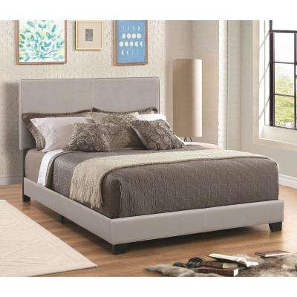 Leather Upholstered Gray Full Size Platform Bed