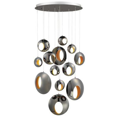 Arlington 39-Watt Blackened Chrome Chandelier Integrated LED with Metal Orbs Shade