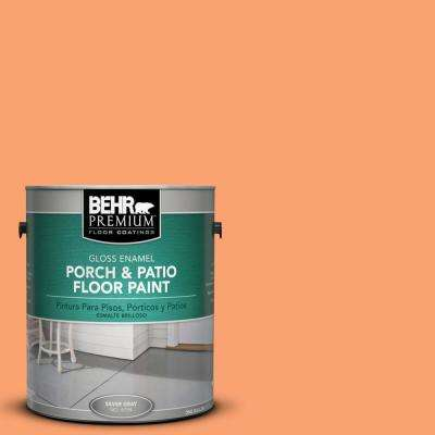 1 gal. #P210-5 Cheerful Tangerine Gloss Interior/Exterior Porch and Patio Floor Paint