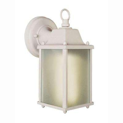 1 Light White Outdoor Wall Coach Lantern With Frosted Glass