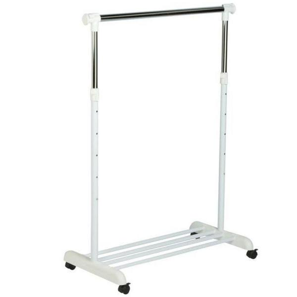 White & Chrome Steel Clothes Rack with Wheels (53 in. W x 63 in. H)