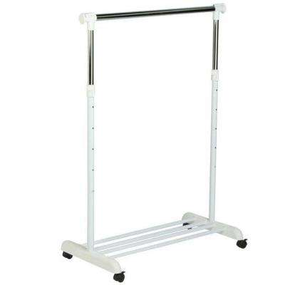 Garment Rack with Wheels in Chrome/White