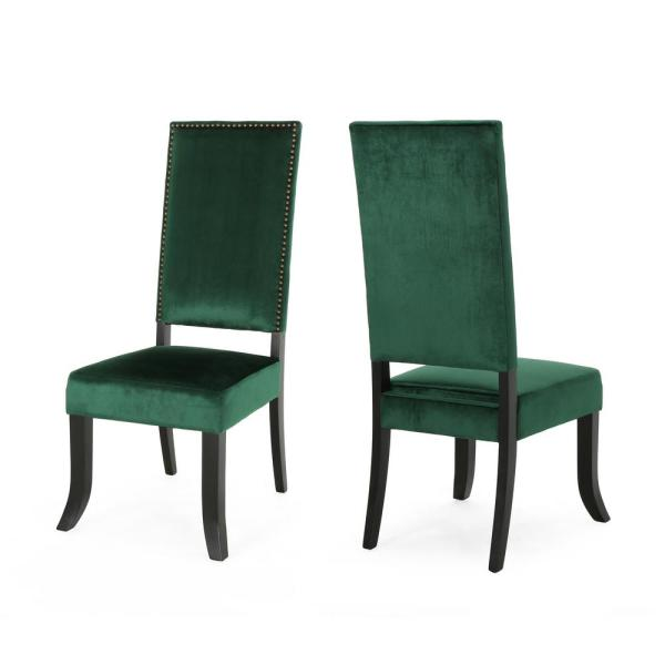 Noble House Coquille Glam Emerald Velvet High-Back Dining Chairs with Nailhead