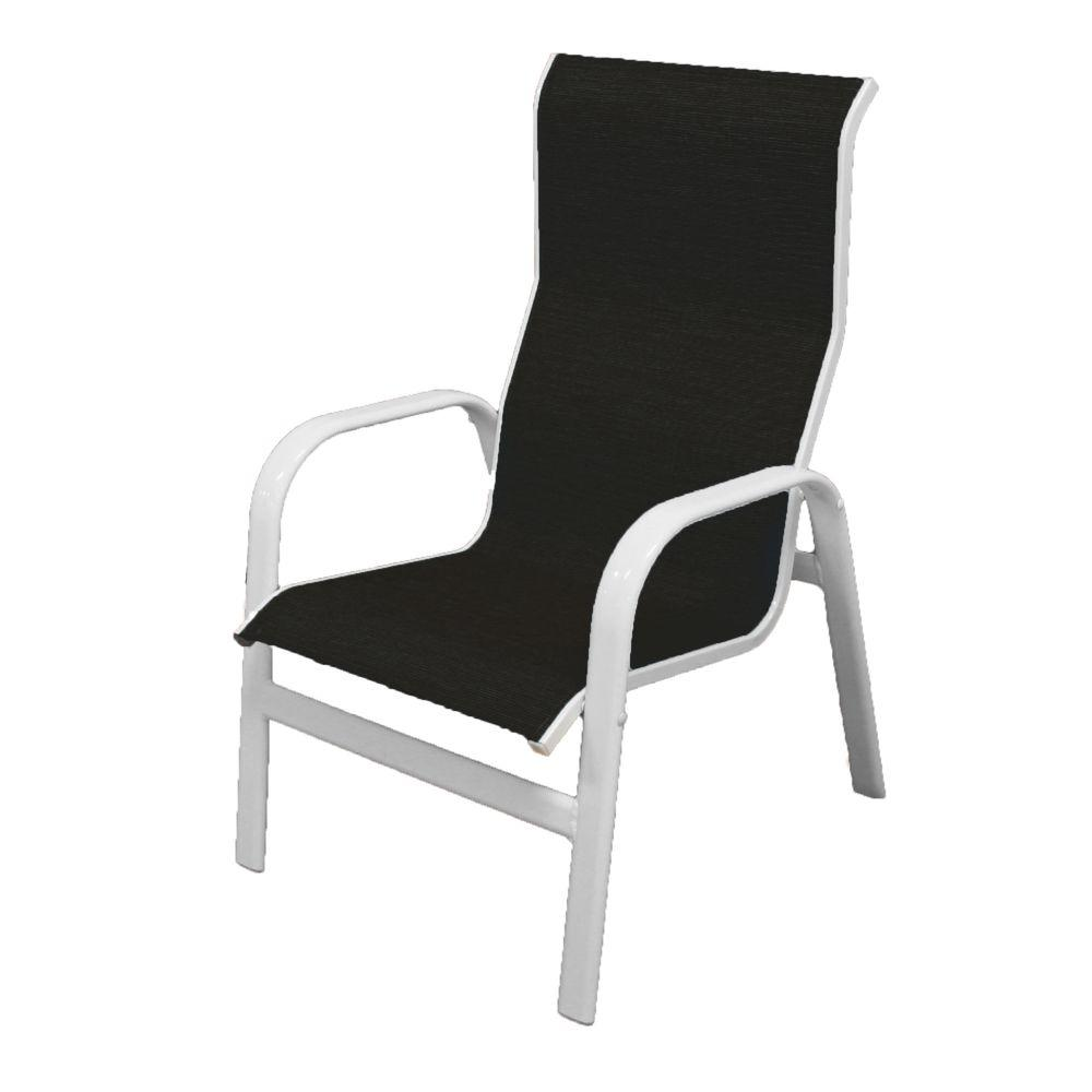 Marco Island White Commercial Grade Aluminum Patio Dining Chair with Metallica