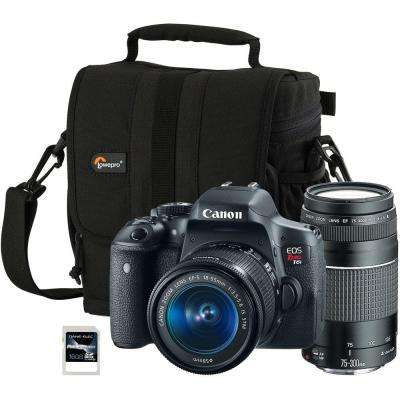 EOS Rebel T6i 18-135 mm Lens and 75-300 mm Lens Camera with Adventura 140 Bag and 16GB SDHC Memory Card