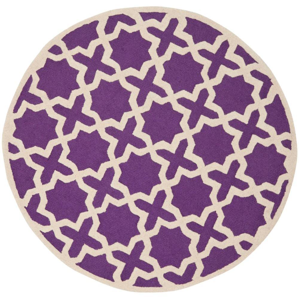 Safavieh Cambridge Purple Ivory 6 Ft X 6 Ft Round Area Rug Cam125k