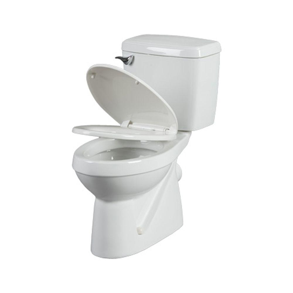 null Bathroom Anywhere 2-piece 1.6 GPF Round Toilet with Seat and .80 HP Macerating Pump in White-DISCONTINUED