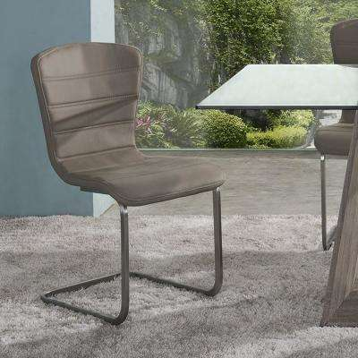 Cameo 34 in. Coffee Faux Leather and Brushed Stainless Steel Finish Modern Dining Chair (Set of 2)