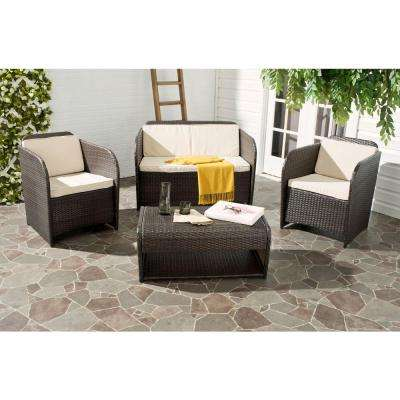 Caprina Brown 4-Piece Outdoor Patio Conversation Set with Beige Cushions