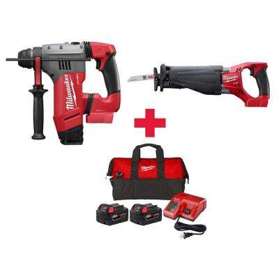 M18 FUEL 18-Volt  1-1/8 in. SDS-Plus Brushless Cordless Rotary Hammer & SAWZALL (2)5.0Ah Batteries & Charger
