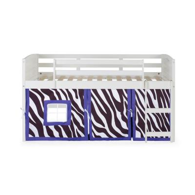 White Twin Louver Low Loft Bed with Zebra Tent