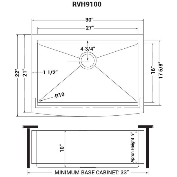 Ruvati Apron Front Stainless Steel 30 In 16 Gauge Workstation Single Bowl Farmhouse Kitchen Sink Rvh9100 The Home Depot