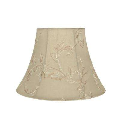 13 in. x 9.5 in. Apricot and Floral Design Bell Lamp Shade