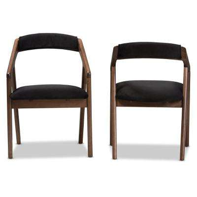 Wendy Dark Grey and Walnut Brown Fabric Dining Chair (Set of 2)