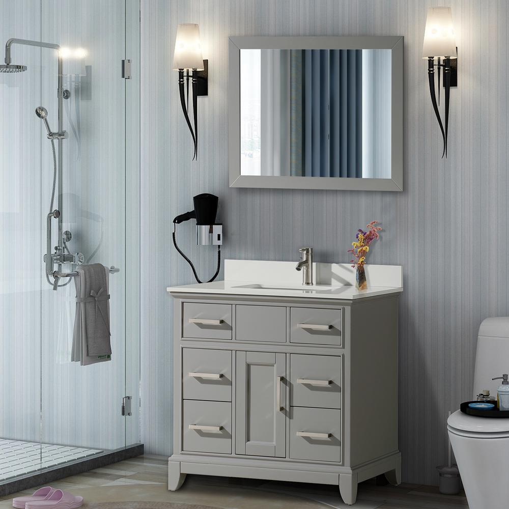 Vanity Art Genoa 36 in. W x 22 in. D x 36 in. H Vanity in Grey with Single Basin Vanity Top in White Phoenix Stone and Mirror