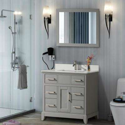 Genoa 36 in. W x 22 in. D x 36 in. H Vanity in Grey with Single Basin Vanity Top in White Phoenix Stone and Mirror